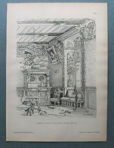 AR85) Architektur Jagdzimmer 1885 Jagd Hund Entwurf F Brochier Holzstich 28x39cm