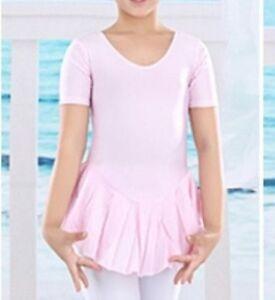 Vestido De Manga Corta Rosa Falda De Ballet Leotardo// Tutú De Patinaje 3-4,5-6,7-8,9-10 años.
