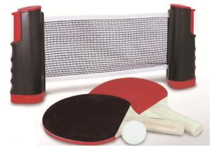 TENNIS-da-Tavolo-Ping-Pong-Set-2x-TONDA-Pipistrelli-amp-Palline-che-si-estende-Net-si-adatta-a