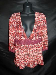 Cabi-M-Red-Burgundy-Silk-Ikat-Empire-Shirt-Sheer-V-Neck-3-4-Sleeve-Crochet-Boho
