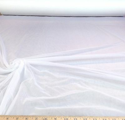 "Discount Fabric 108"" White PowerNet Mesh Spandex sheer  10PO"