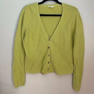 Eileen-Fisher-Womens-Sweater-Medium-Green-Button-Front-Cardigan-V-Neck-Cotton