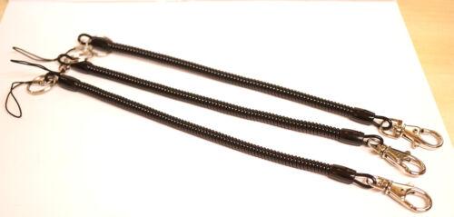 Spiralsicherungskabel SUPERSCHLANK 1 Karabiner 1 Ring  27 cm x 0,8 cm TOP