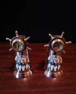 Vtg-West-Point-Souvenir-Silvertone-Ships-Wheel-Compass-Salt-And-Pepper-Shakers