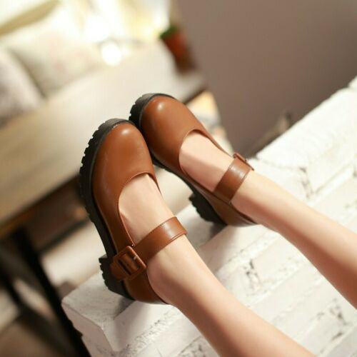 Details about  /Retro Ladies Mary Jane Pumps Block Heels Ankle Strap Casual Party Shoes Cosplay