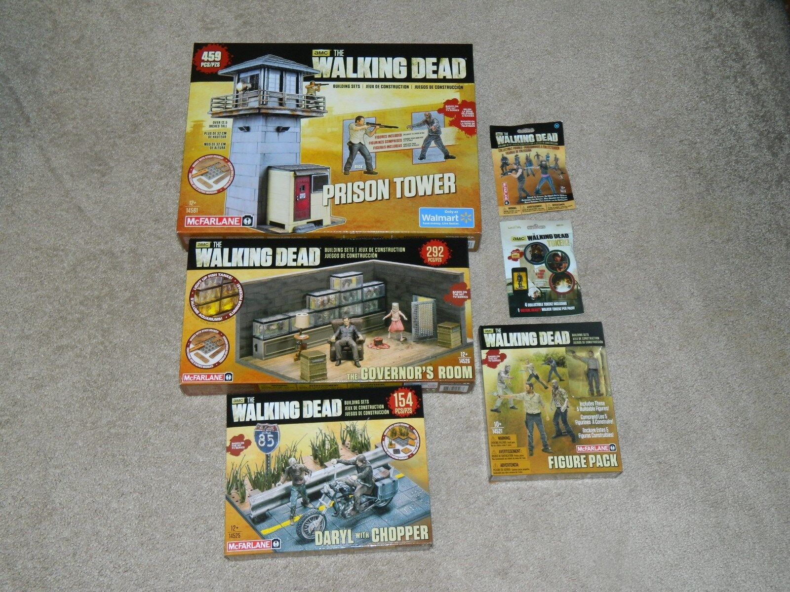 McFarlane AMC Lot of 6 Walking Dead Building Sets Prison Tower / Governors Room