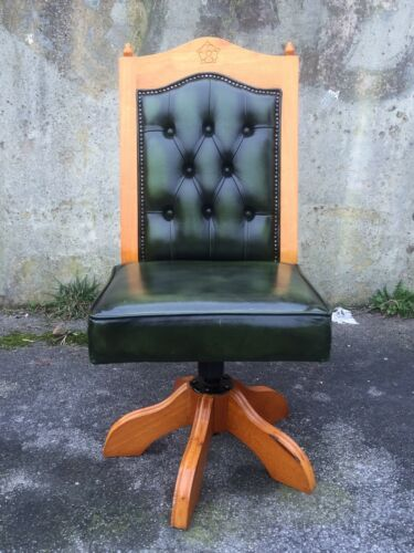 Chesterfield Gainsborough Swivel Office Desk Captains Chair In green Leather !