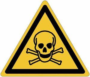 """Cartelli pittogrammi adesivi di pericolo ISO 7010 """"Materiali tossici"""" - W016"""