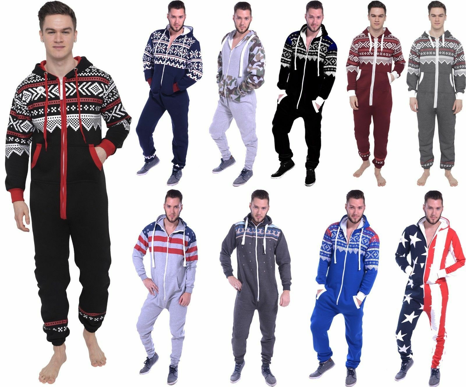 Mens All in One Piece jumpsuit Pajamas Casual Aztec Print Hooded Sleepwear S-XXL