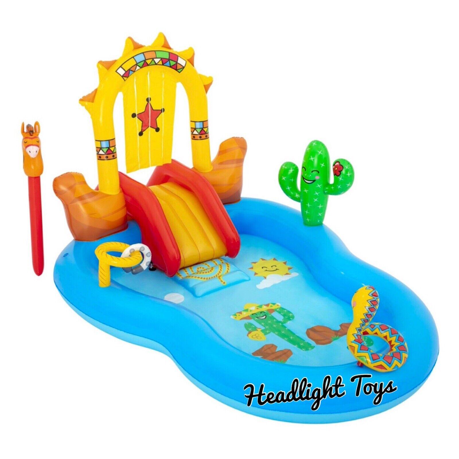 H2OGO! Wild West Kids Swim Center Inflatable Swimming Pool Slide Sprayer Play