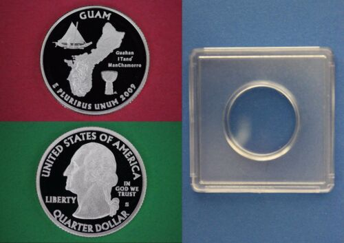 Silver 2009-S Guam Proof State Quarter With 2x2 Snap DCameo Combined Shipping