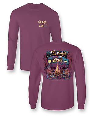 Sassy Frass Fall Nights in the South Bonfire Camper Comfort Colors Girlie Long S