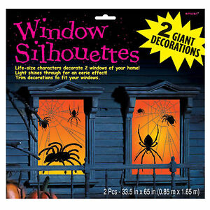 2 Halloween Horror Sinister Spiders Webs Window Posters Party Decorations