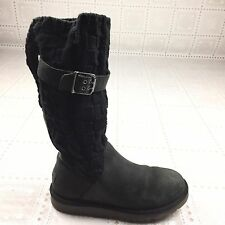 Ugg Australia Women Sz 5 Mid Calf Boots Black Knit Cable Basketweave Buckle