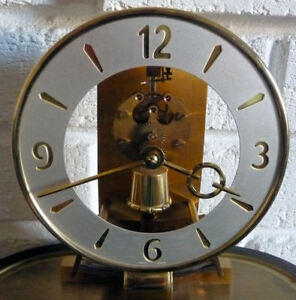 KIENINGER-amp-OBERGFELL-VINTAGE-SKELETON-MANTLE-CLOCK-WITH-GLASS-DOME-9-PICS