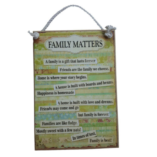 Country Printed Quality Wooden Sign And Hanger Family Matters Plaque New