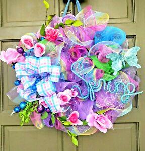 "Handmade 24"" Spring Summer Deco Mesh Rose Wreath Blue Pink Purple Door Decor"