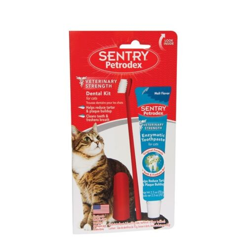 Petrodex Dental Care Kit For Cats clean teeth & fight bad breath Toothbrush