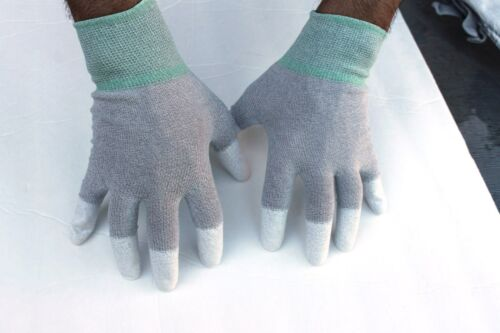 Size:L 5 pairs ESD Anti-Static and Anti-Skid Gloves-finger Top coated