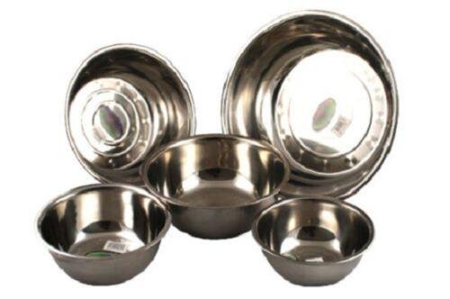 5 PC Stainless Steel Large Mixing Bowl Set Utensils Bake Prep Bowls Basins