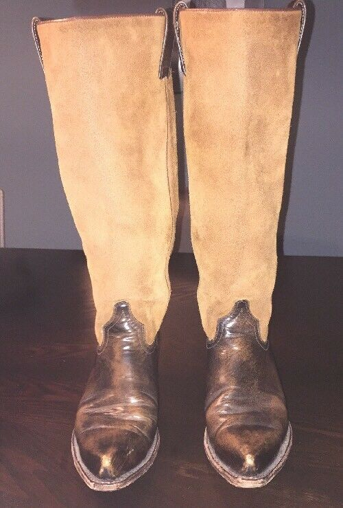 Frye Women's US 6 M Brown Suede Leather tall Cowgirl Western Boots Spain