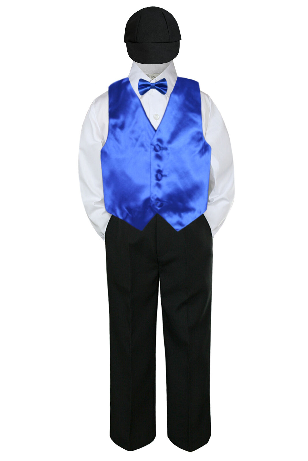 5pc Boys Suit Set Royal Blue Vest Bow Tie Baby Toddler Kid Uniform ...
