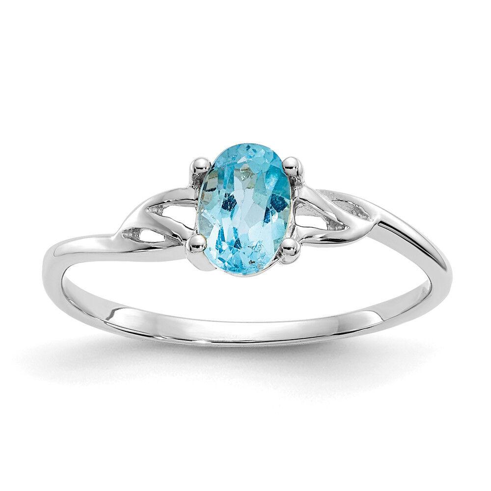 Ladies 10K White gold Oval Swiss blueee Topaz Gemstone December Birthstone Ring