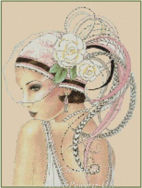 Art Deco Lady with Pink Hat Counted Cross Stitch COMPLETE KIT No. 1-4a