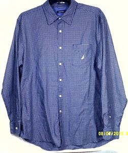 nautica men 39 s blue white check cotton long sleeve shirt sz