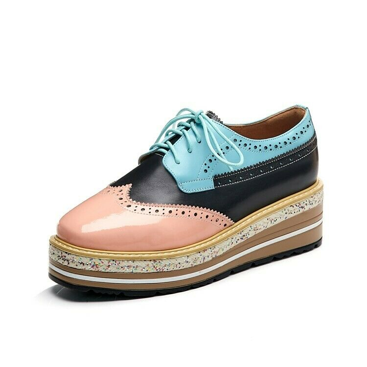 Casual Women Square Toe Lace Up Breathable Creeper Sneaker Genuine Leather shoes