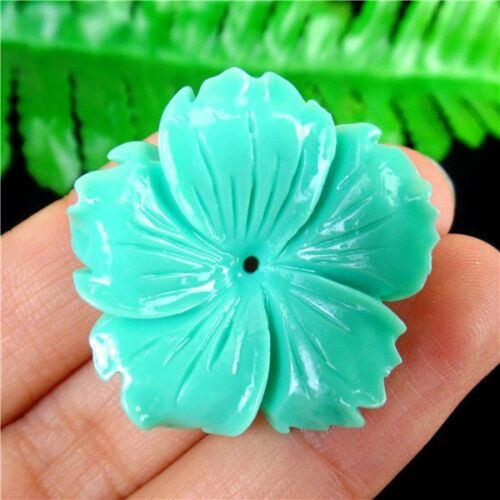 Multicolor Mixed Choice Tridacna Carved Flower Pendant Bead 30*8mm HH6394