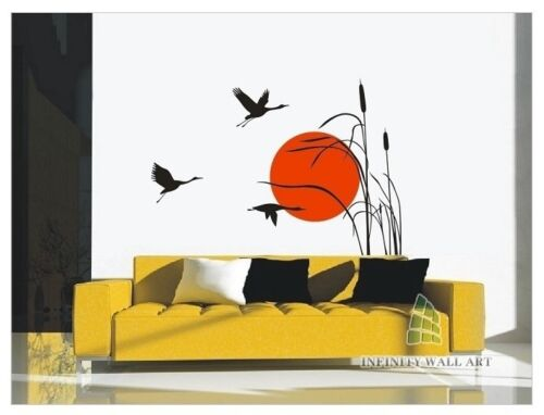Wall Art Decal Top Design Crane /& Sunset Wall Art Sticker Wall Sticker PD420