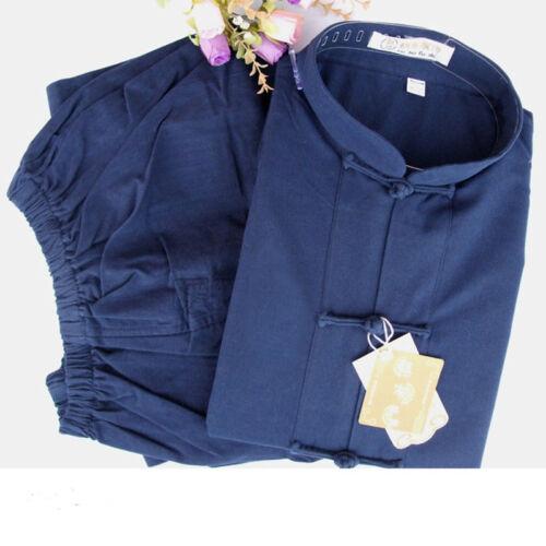 Kung fu Taichi Wu shu Martial Arts Coarse cloth uniform clothes Cotton Suit Blue