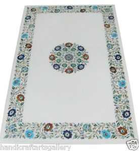 """49""""x 29"""" White Marble Countertops Turquois Inlay Art Marquetry Patio Décor H1920"""
