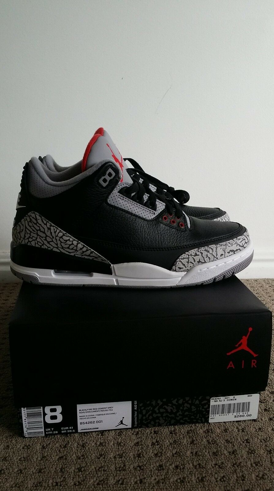 Air Jordan 3 Black Black Black Cement Size 8 US DEADSTOCK f6e1c7