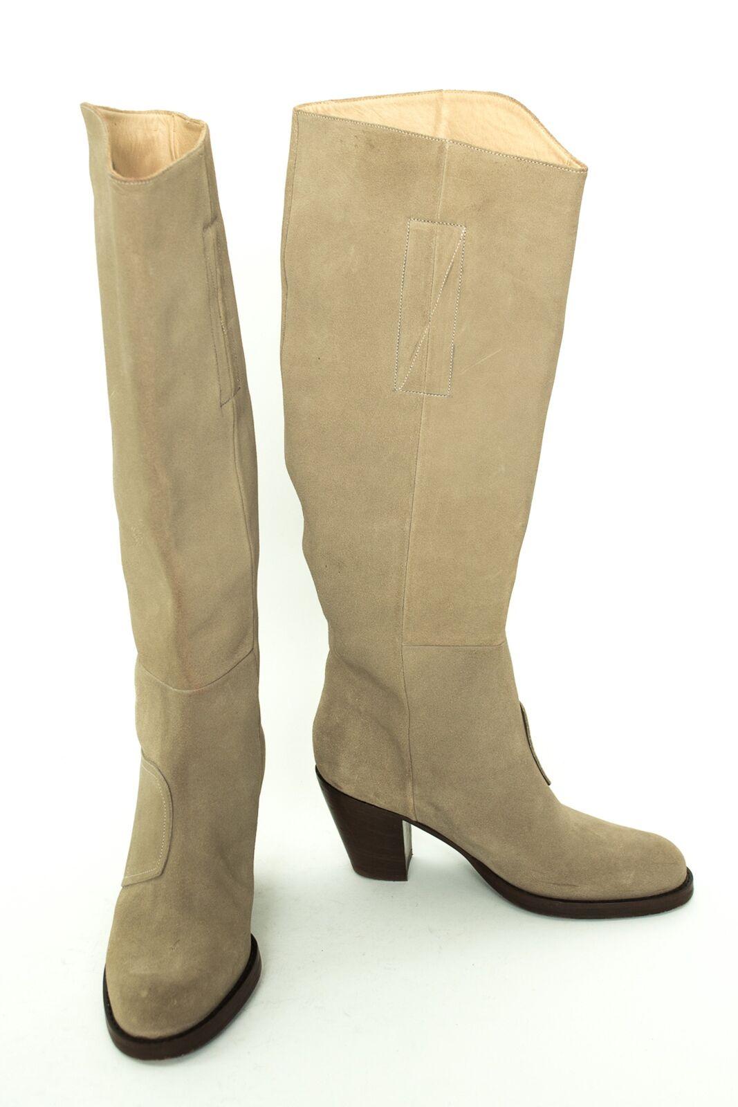 VERO CUOIO Stiefel Gr. EU 37 Damen Schuhe Boots High Heels Shoes Graubeige Leder
