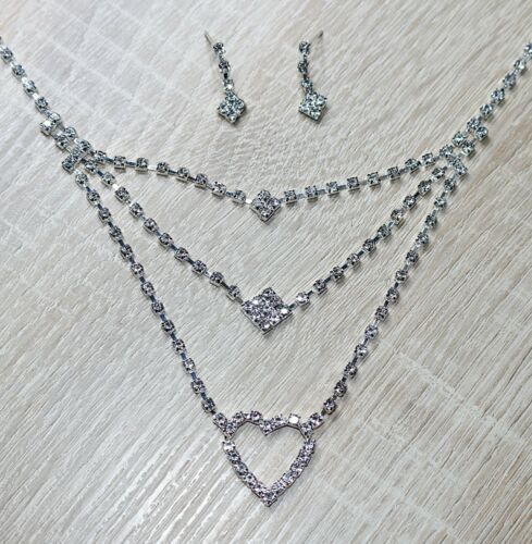 2Tlg Collier-Ohrringe in Gold oder Silber Farben. Schmuck Set