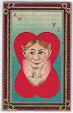 1940's Valentine's Day Card Postcard Mirror Heart Image
