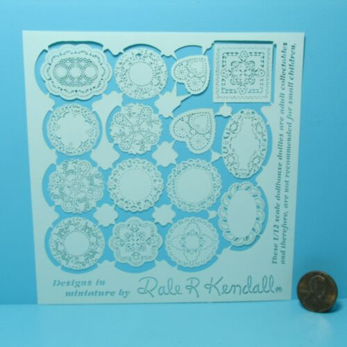 Doilies Set  Various Sizes /& Shapes JK100 Dollhouse Miniature White Doily