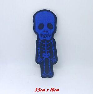 Mignon-Crane-Squelette-Motard-Rock-Bleu-Brode-Patch-Thermocollant