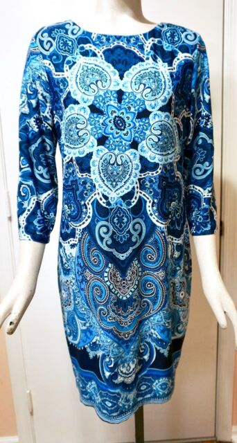 0ba3bedfbdf White House Black Market 3 4 Sleeve Printed Knit Shift Dress Blue ...