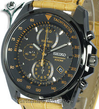 SEIKO ION BLACK CHRONO With TAN LEATHER BUCKLE STRAP SNDD69P1
