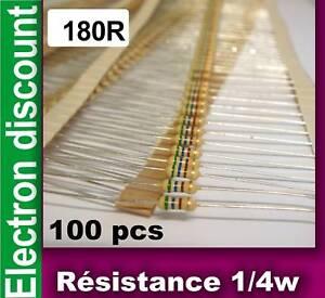 Resistance-1-4w-180-ohms-180R-lot-de-100