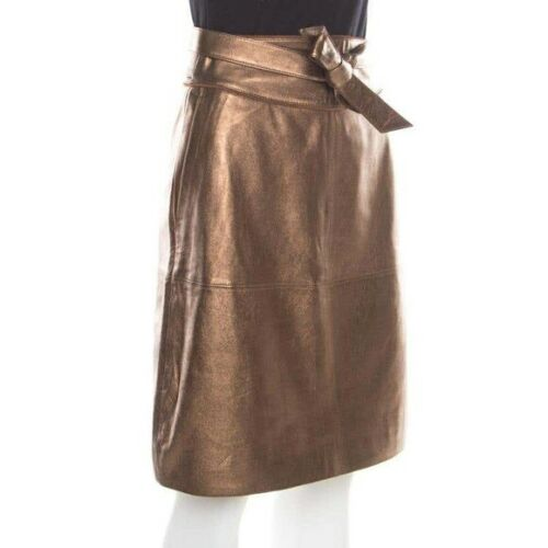 Marc by Marc Jacobs metallic lamb leather skirt 8