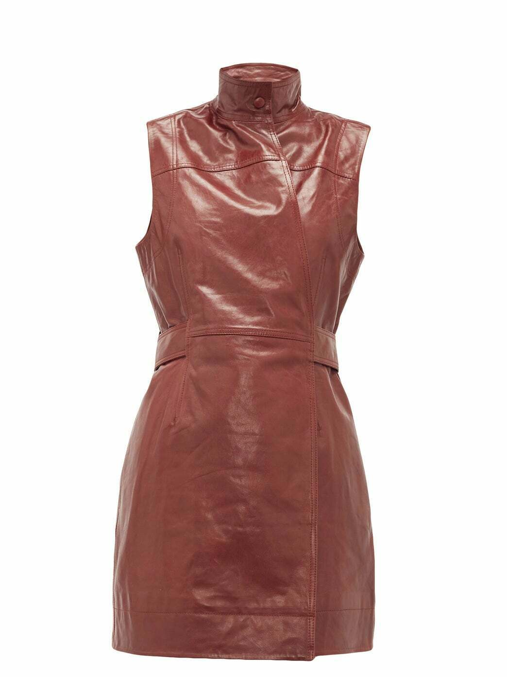 Women's New Coat Collection Sleeveless Real Leather Wrap Dress Classic Jacket