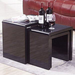 new design high gloss black nest of 3 coffee table side table living room ebay. Black Bedroom Furniture Sets. Home Design Ideas