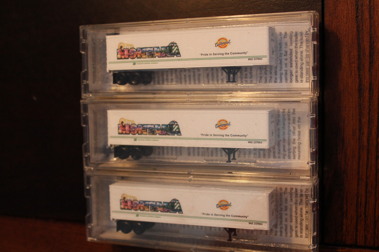 N SCALE LOT OF 3 ( RARE )  45' TRAILERS BN INTERMODAL MONTANA BY MICRO TRAINS