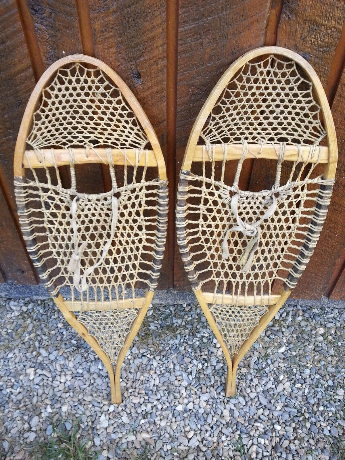 ANTIQUE Snowshoes 33  Long by 12  Wide with VERY DIFFERENT WEBBING