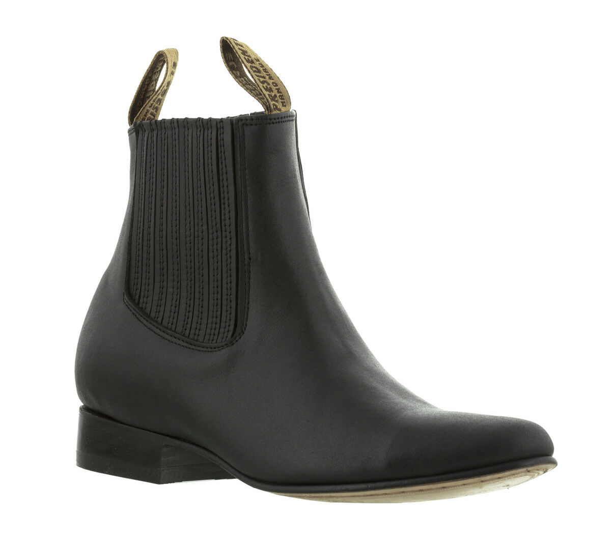 Mens Black Smooth Leather Ankle Boots Round Toe Pull On Dress Rodeo Cowboy New