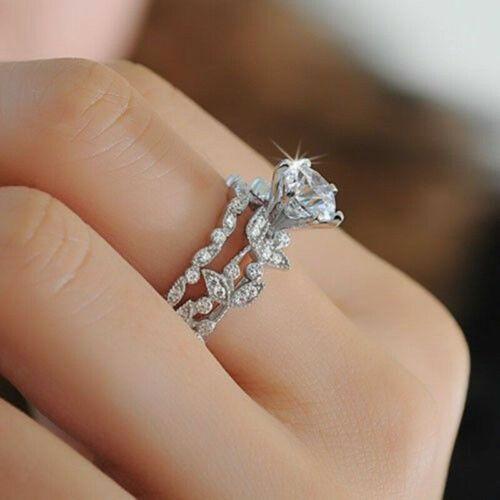 Jewelry Set Wedding 6-10 Silver White Band Sapphire Sz Rings Shape Leaf Gift 925